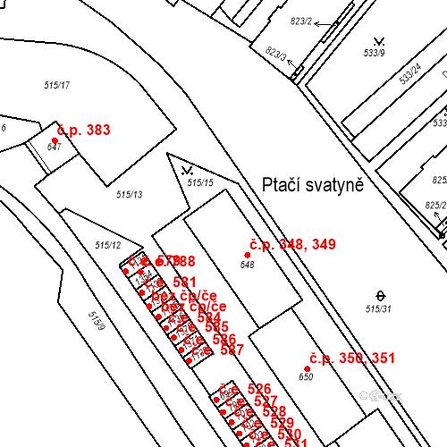 Katastrální mapa Stavební objekt Adamov 348, 349, Adamov