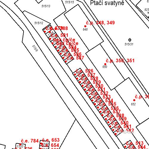 Katastrální mapa Stavební objekt Adamov 526, Adamov