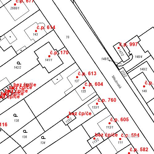 Katastrální mapa Stavební objekt Valtice 613, Valtice