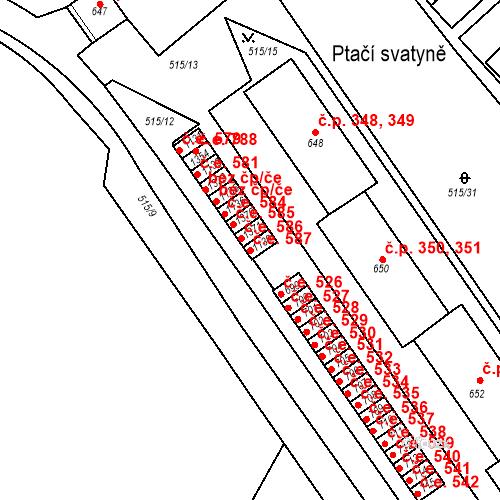 Katastrální mapa Stavební objekt Adamov 587, Adamov