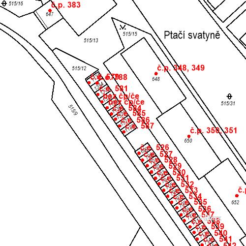 Katastrální mapa Stavební objekt Adamov 586, Adamov