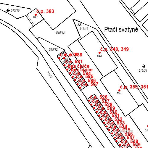 Katastrální mapa Stavební objekt Adamov 584, Adamov