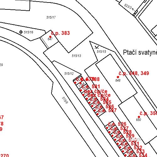 Katastrální mapa Stavební objekt Adamov 579, Adamov
