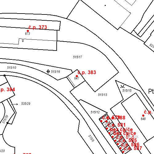 Katastrální mapa Stavební objekt Adamov 383, Adamov