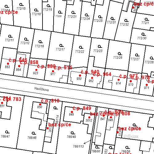 Katastrální mapa Stavební objekt Blansko 940, Blansko