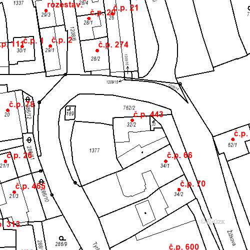 Katastrální mapa Stavební objekt Bílovice nad Svitavou 443, Bílovice nad Svitavou