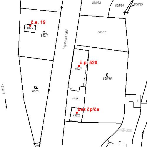 Katastrální mapa Stavební objekt Bílovice nad Svitavou 520, Bílovice nad Svitavou