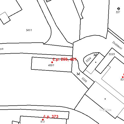 Katastrální mapa Stavební objekt Adamov 259, 401, Adamov
