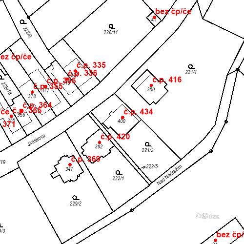 Katastrální mapa Stavební objekt Bílovice nad Svitavou 434, Bílovice nad Svitavou