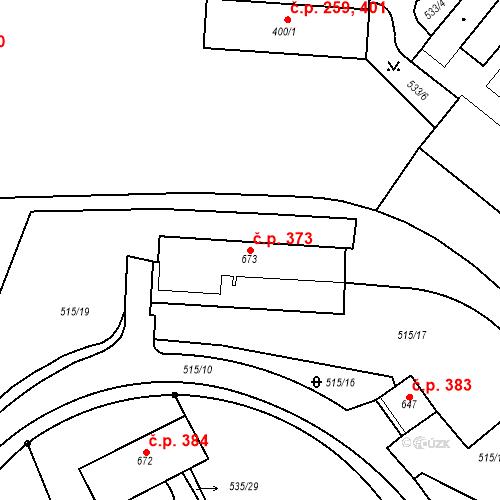 Katastrální mapa Stavební objekt Adamov 373, Adamov