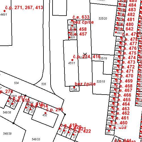 Katastrální mapa Stavební objekt Adamov 274, 416, Adamov