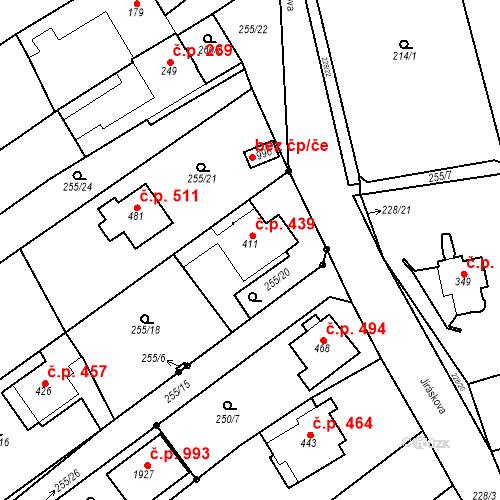 Katastrální mapa Stavební objekt Bílovice nad Svitavou 439, Bílovice nad Svitavou