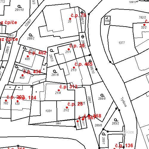 Katastrální mapa Stavební objekt Bílovice nad Svitavou 465, Bílovice nad Svitavou
