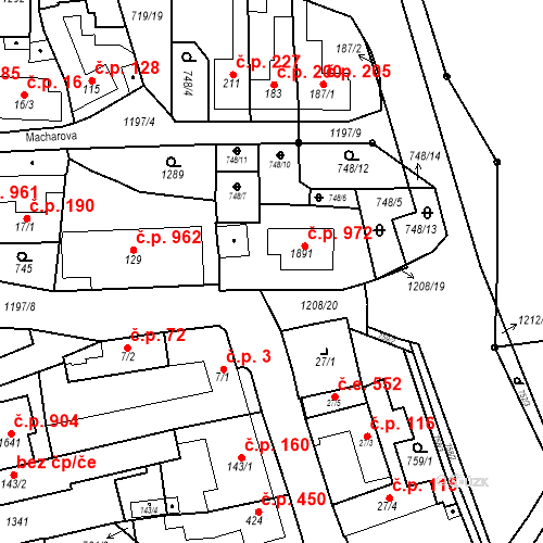 Katastrální mapa Stavební objekt Bílovice nad Svitavou 463, Bílovice nad Svitavou