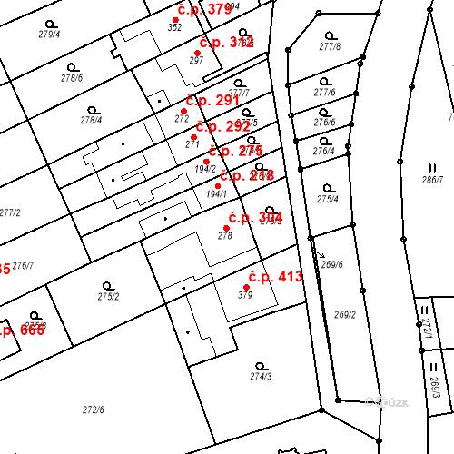 Katastrální mapa Stavební objekt Bílovice nad Svitavou 304, Bílovice nad Svitavou