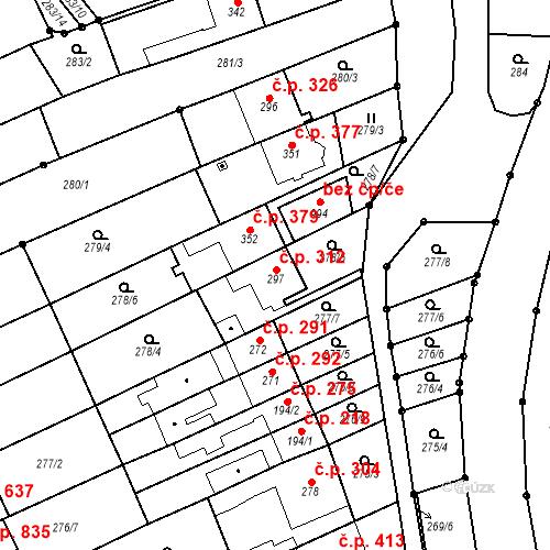 Katastrální mapa Stavební objekt Bílovice nad Svitavou 312, Bílovice nad Svitavou