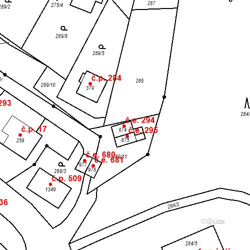 Katastrální mapa Stavební objekt Adamov 294, Adamov