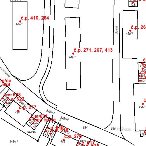 Katastrální mapa Stavební objekt Adamov 267, 271, 413, Adamov