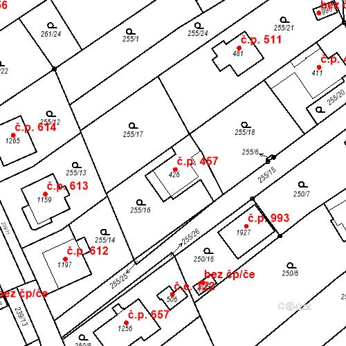 Katastrální mapa Stavební objekt Bílovice nad Svitavou 457, Bílovice nad Svitavou
