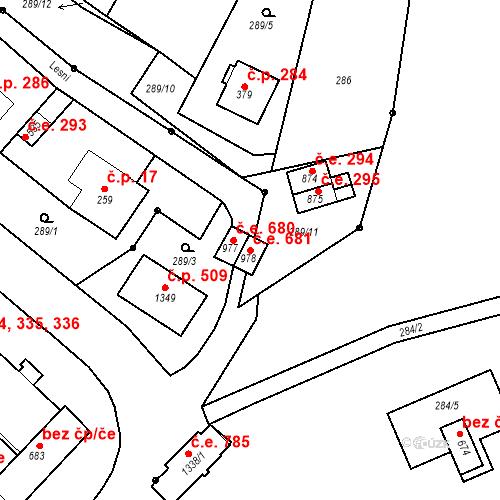 Katastrální mapa Stavební objekt Adamov 681, Adamov