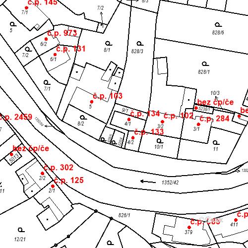 Katastrální mapa Stavební objekt Blansko 134, Blansko