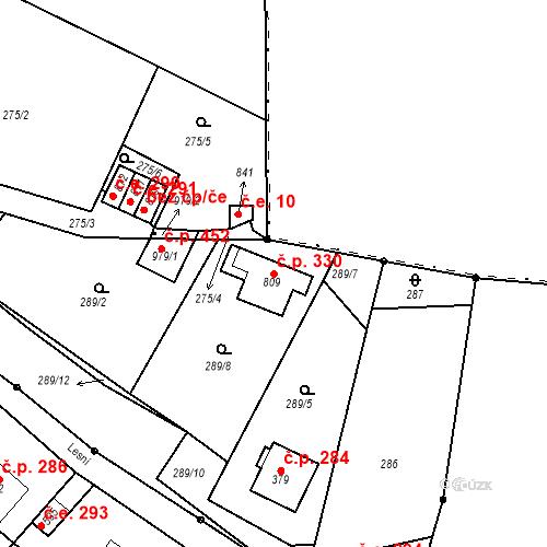 Katastrální mapa Stavební objekt Adamov 330, Adamov
