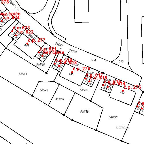 Katastrální mapa Stavební objekt Adamov 276, Adamov