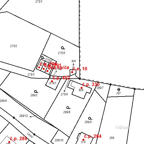 Katastrální mapa Stavební objekt Adamov 10, Adamov