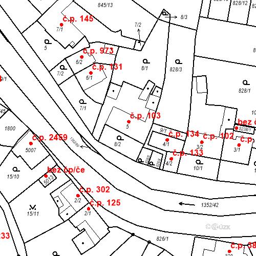 Katastrální mapa Stavební objekt Blansko 103, Blansko