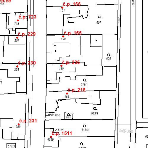 Katastrální mapa Stavební objekt Blansko 236, Blansko