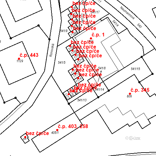 Katastrální mapa Stavební objekt Adamov 775, Adamov