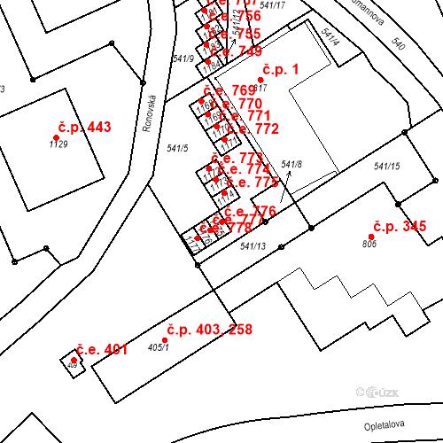 Katastrální mapa Stavební objekt Adamov 776, Adamov