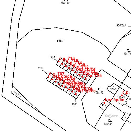 Katastrální mapa Stavební objekt Adamov 714, Adamov