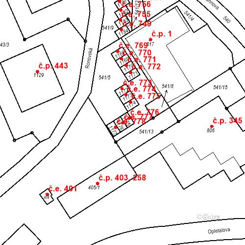 Katastrální mapa Stavební objekt Adamov 777, Adamov
