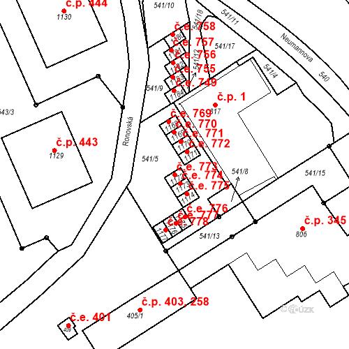 Katastrální mapa Stavební objekt Adamov 773, Adamov