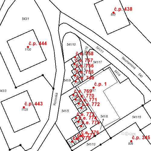 Katastrální mapa Stavební objekt Adamov 755, Adamov
