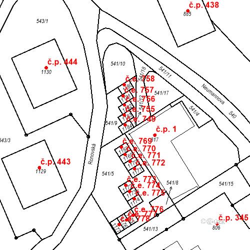 Katastrální mapa Stavební objekt Adamov 749, Adamov