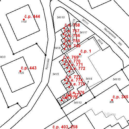Katastrální mapa Stavební objekt Adamov 770, Adamov