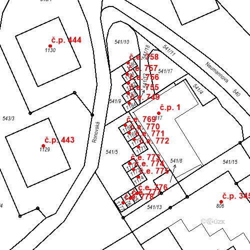 Katastrální mapa Stavební objekt Adamov 769, Adamov