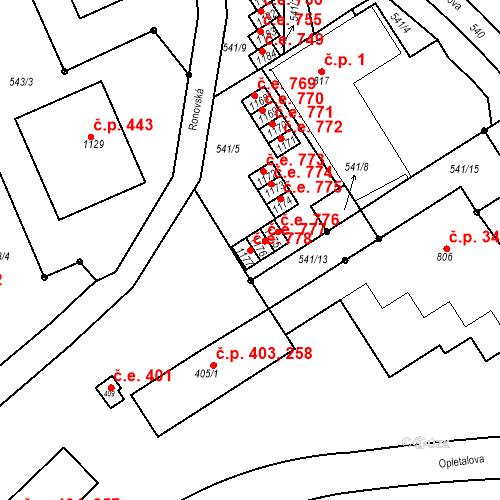 Katastrální mapa Stavební objekt Adamov 778, Adamov