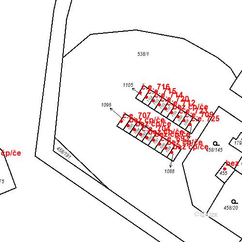 Katastrální mapa Stavební objekt Adamov 707, Adamov
