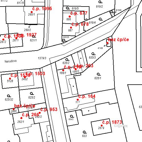 Katastrální mapa Stavební objekt Blansko 263, Blansko