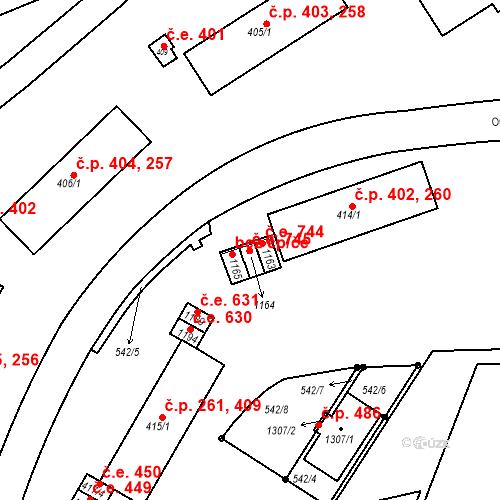 Katastrální mapa Stavební objekt Adamov 745, Adamov
