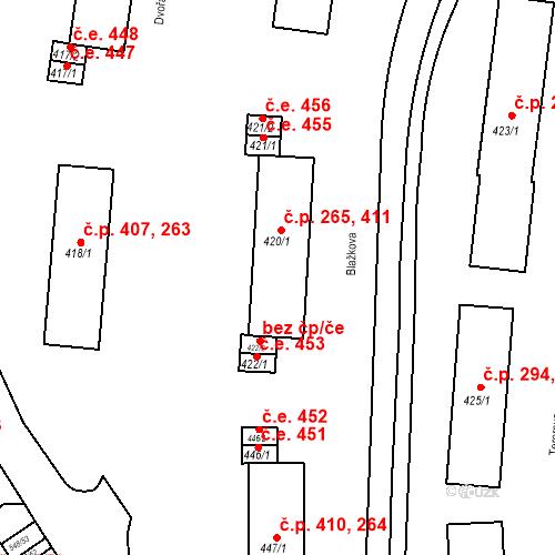 Katastrální mapa Stavební objekt Adamov 265, 411, Adamov
