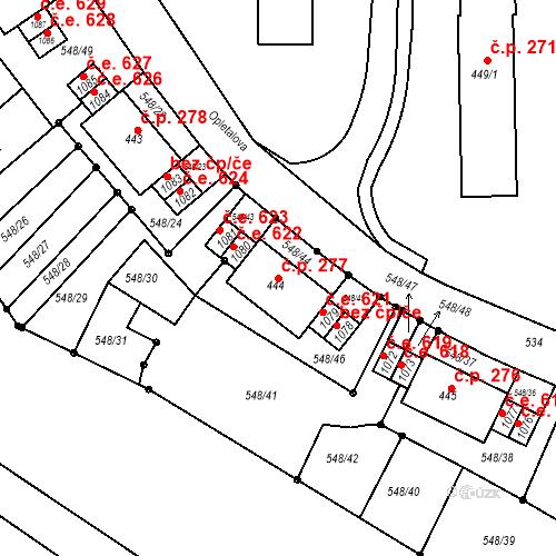 Katastrální mapa Stavební objekt Adamov 277, Adamov