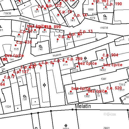 Katastrální mapa Stavební objekt Bílovice nad Svitavou 289, Bílovice nad Svitavou