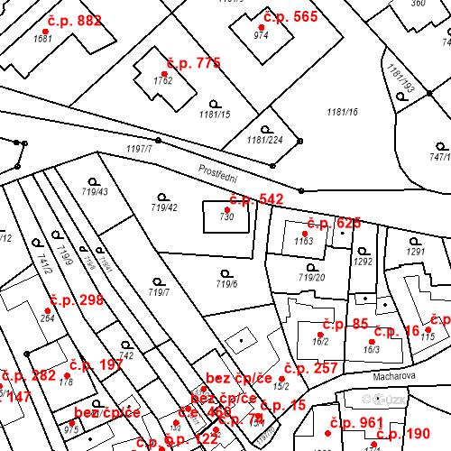 Katastrální mapa Stavební objekt Bílovice nad Svitavou 542, Bílovice nad Svitavou