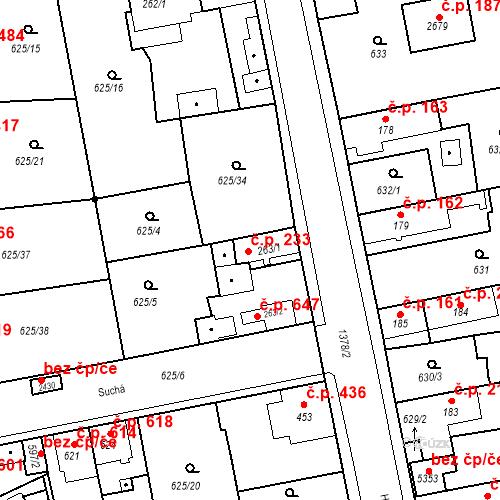 Katastrální mapa Stavební objekt Blansko 233, Blansko