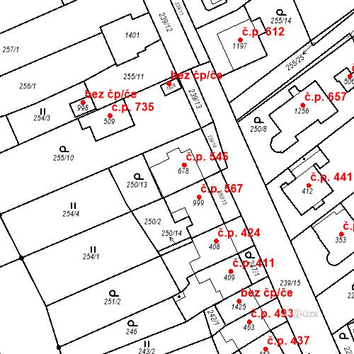 Katastrální mapa Stavební objekt Bílovice nad Svitavou 545, Bílovice nad Svitavou