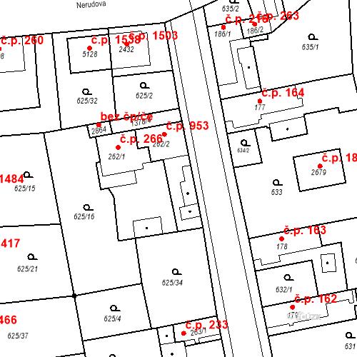 Katastrální mapa Stavební objekt Blansko 953, Blansko